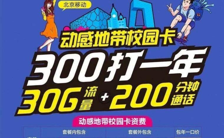 2020年北京移动校园卡正式上架,每月30G流量+200分钟通话